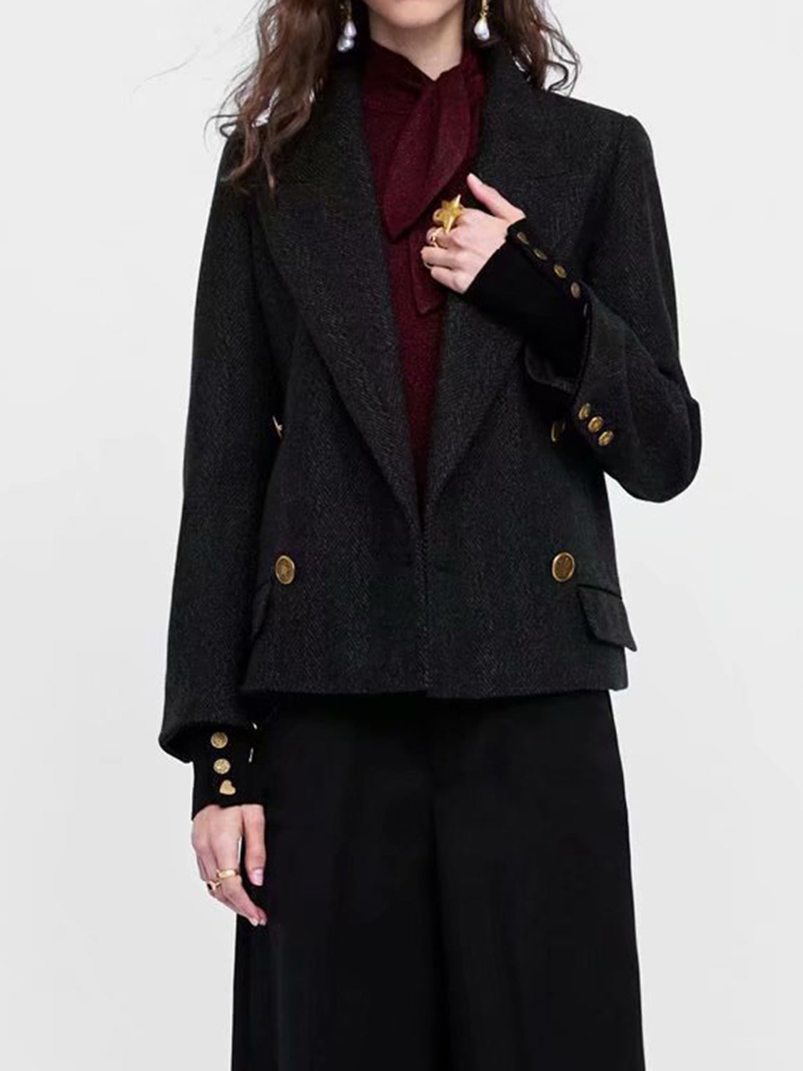 Black Women Coat Lapel Pockets Detail Long Sleeve