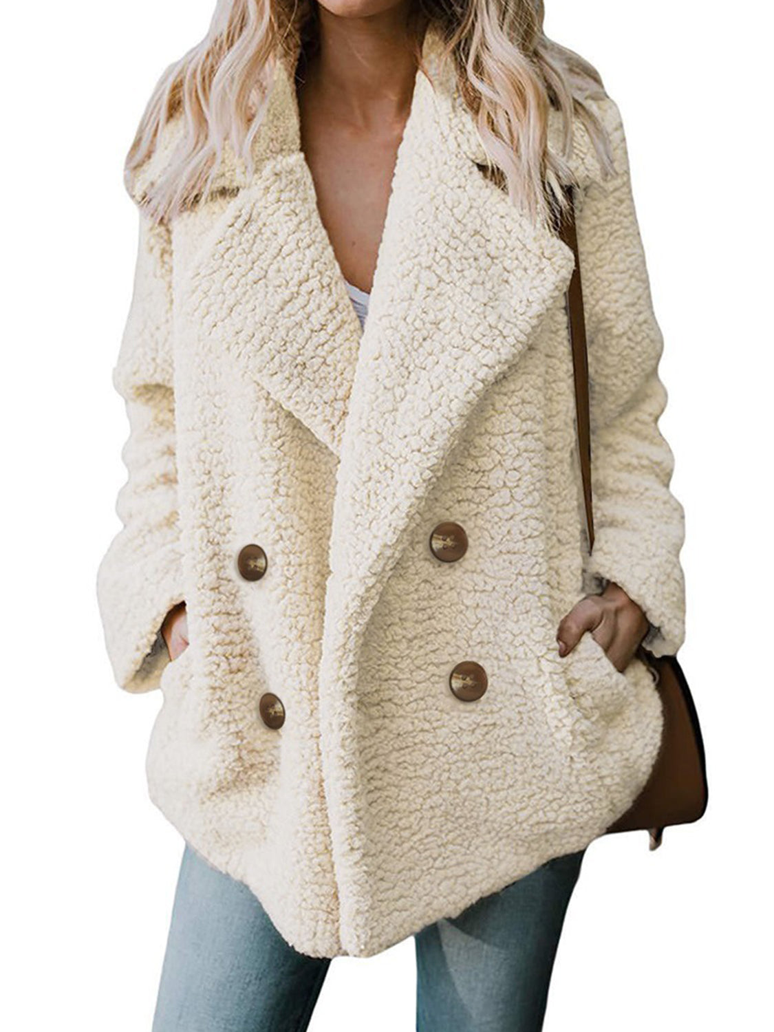 Beige Lapel Pocket Detail Long Sleeve Women Coat