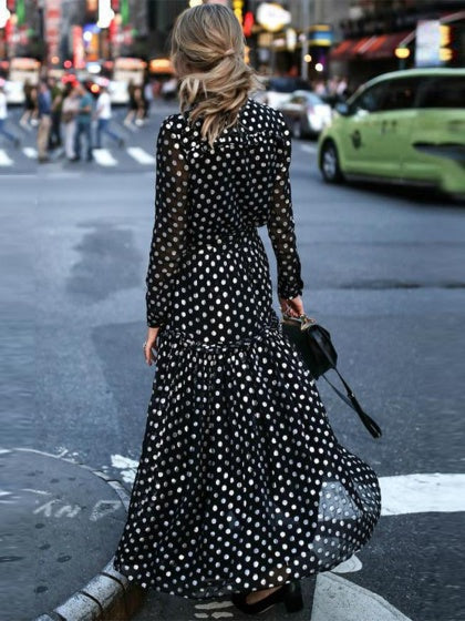 Black Women Maxi Dress V-neck Polka Dot Print Long Sleeve