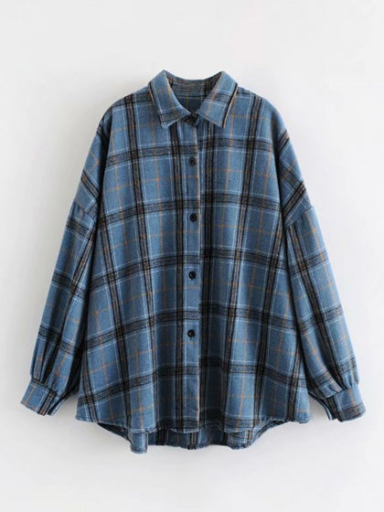 Blue Plaid Cotton Blend Long Sleeve Women Shirt