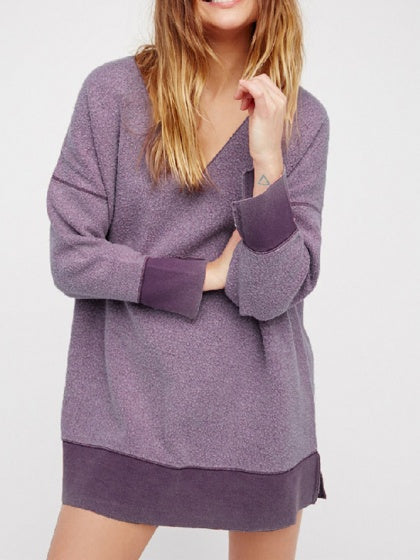 Purple Women Mohair Knit Sweatshirt V-neck Long Sleeve