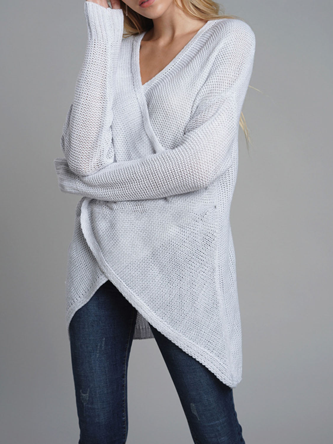 Gray V-neck Long Sleeve Women Knit Sweater