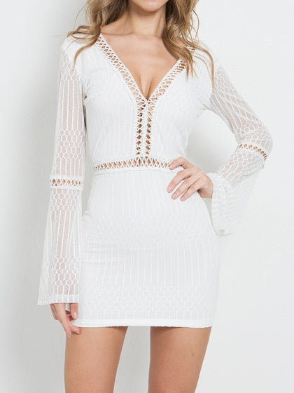 White Mini Dress V-neck Open Back Flare Sleeve Bodycon