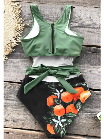 Green One-Piece Swimsuit Contrast Orange Print Tie Back