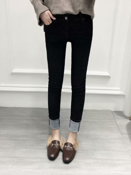 Black High Waist Fleece Skinny Jeans