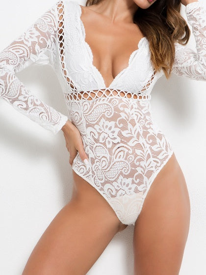 White Women Lace Bodysuit Plunge Open Back Long Sleeve