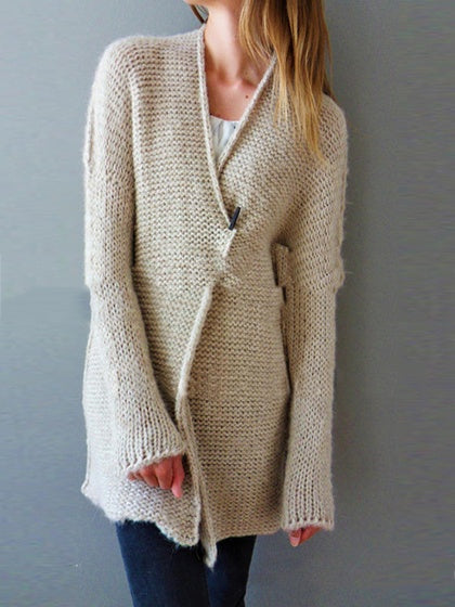 Beige Women Mohair Knit Cardigan Long Sleeve