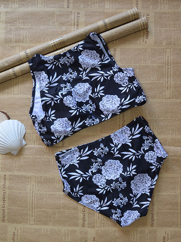 Flower Print Zip Front Bikini Top and High Waist Bottom