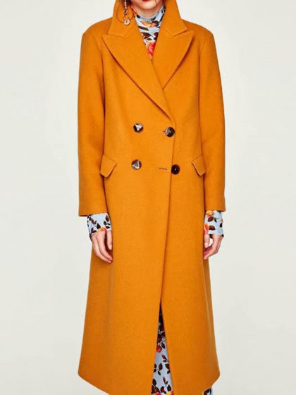 Yellow Women Longline Coat Lapel Pocket Detail Long Sleeve