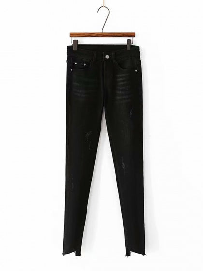 Black High Waist Asymmetric Hem Stretch Fleece Skinny Jeans