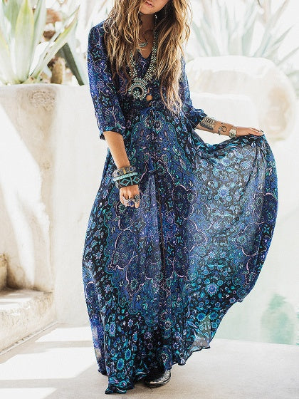 Blue Maxi Dress V-neck Floral Print Tie Waist Thigh Split Front