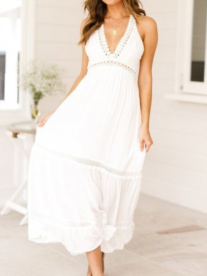 White  Cami Maxi Dress Plunge Cut Out Detail Open Back