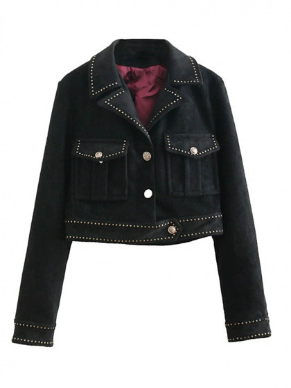 Black Women Jacket Lapel Studs Detail Long Sleeve