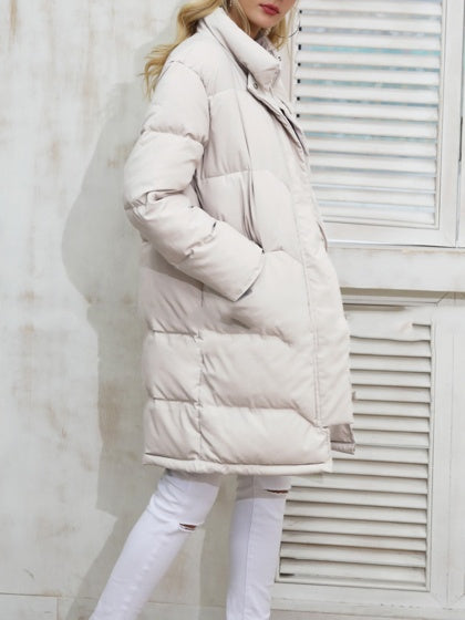 White Women Coat Cotton Padded High Neck Long Sleeve