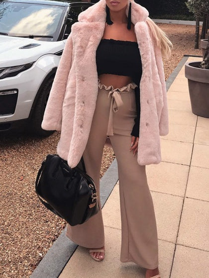 Pink Women Faux Fur Coat Lapel Long Sleeve