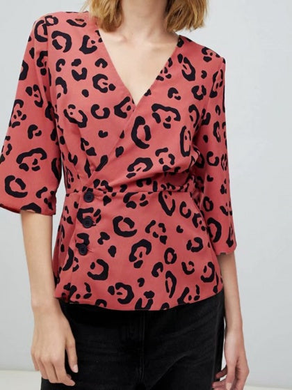 Red Women Blouse V-neck Leopard Print Button Placket Front