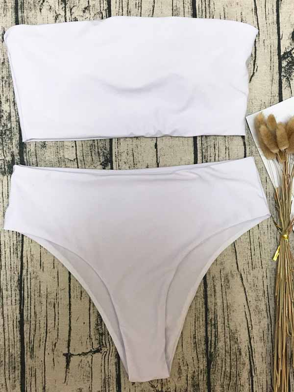 White Bandeau Bikini Top And High Waist Bottom