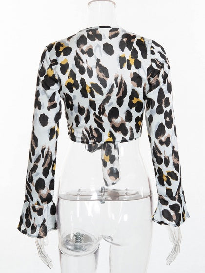 White Women Crop Top Plunge Leopard Print Flare Sleeve