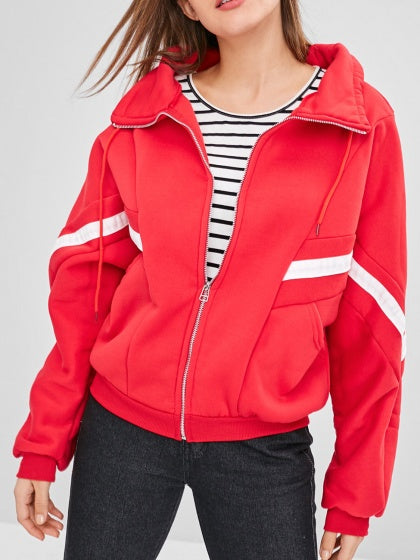 Red Women Jacket Lapel Contrast Stripe Panel Long Sleeve