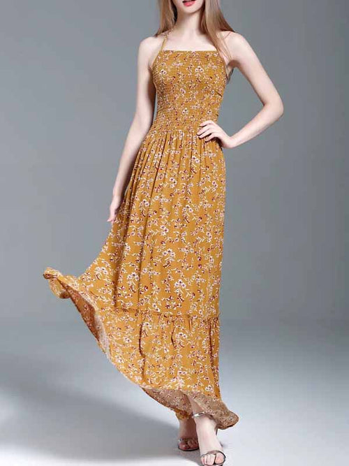 Yellow Floral Halter Lattice Lace Up Back Maxi Dress