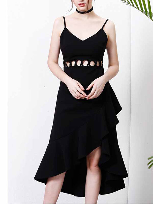 Black V-neck Spaghetti Strap Cut Out Ruffle Hem Hi-Lo Dress