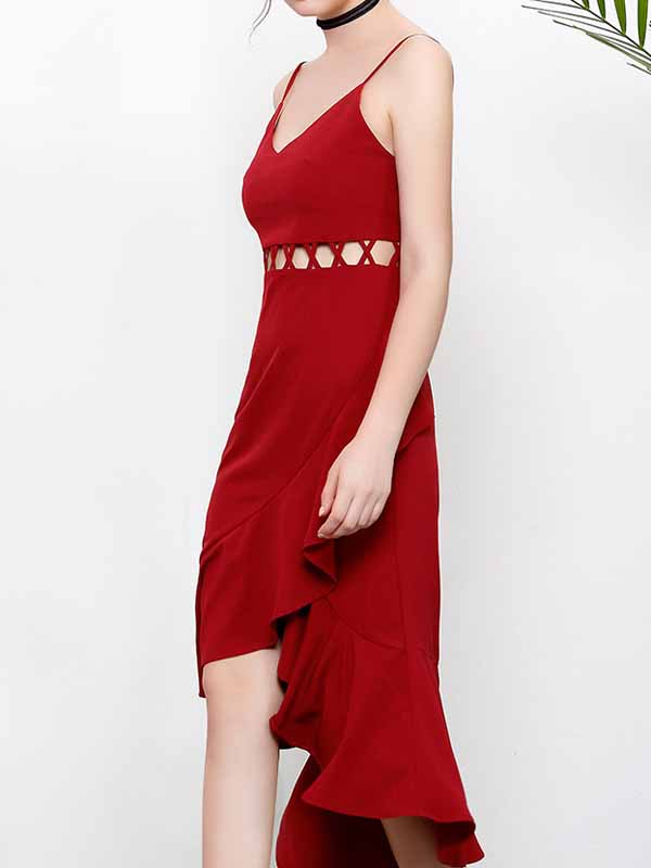 Burgundy V-neck Spaghetti Strap Cut Out Ruffle Hem Hi-Lo Midi Dress