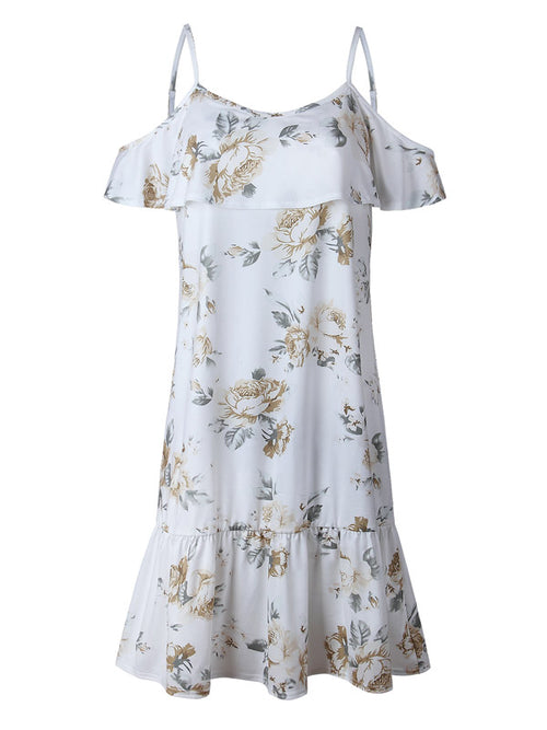 White Floral Spaghetti Strap Shift Dress