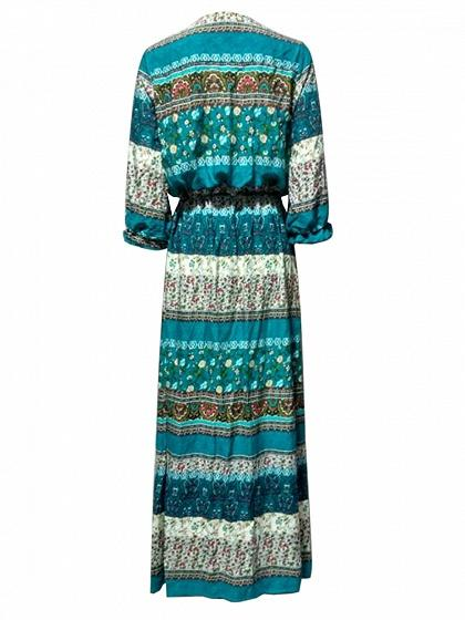 Green Tribal Print Split Cintage V Neck Maxi Dress