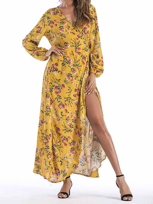 Yellow V-neck Tie Waist Print Detail Thigh Split Maxi Dress
