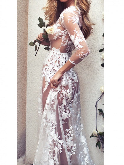 White Women Maxi Dress Sheer Lace Party