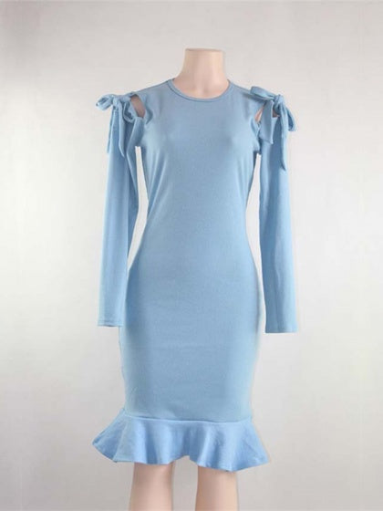 Light Blue Bodycon Dress Ribbed Cold Shoulder Ruffle Hem Long Sleeve