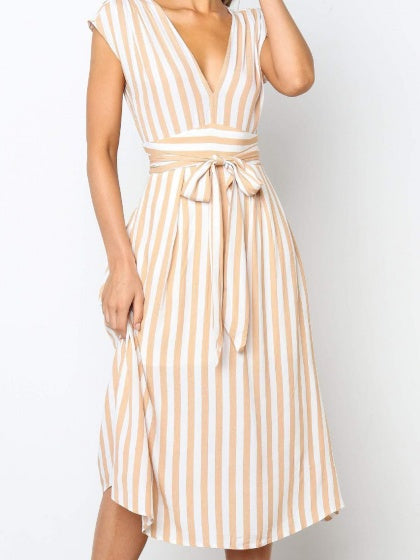 Pink Women Midi Dress Stripe Cotton V-neck Tie Waist