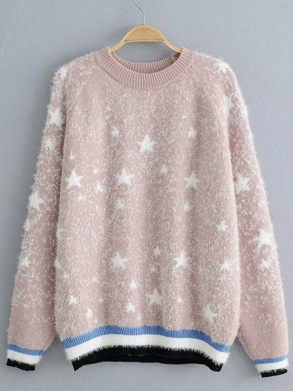 Pink Women Sweater Star Embroidery Contrast Stripe Long Sleeve