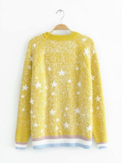 Yellow Women Sweater Star Embroidery Contrast Stripe Long Sleeve