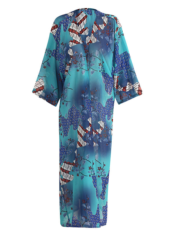 Blue Open Front Print Detail Beach Coverup