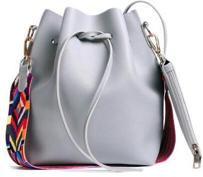 Colorful Leather Strap Bucket Bag