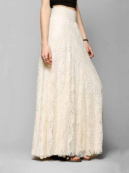 Beige Maxi Skirt High Waist Lace
