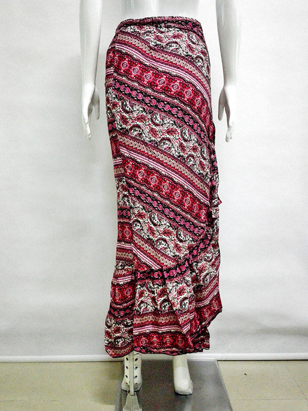 Red Tribal Print Ruffle Trim Maxi Skirt