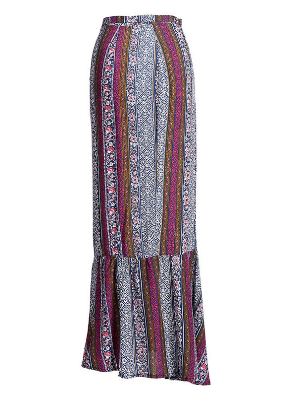 Purple Tribal Print Ruffle Trim Maxi Skirt