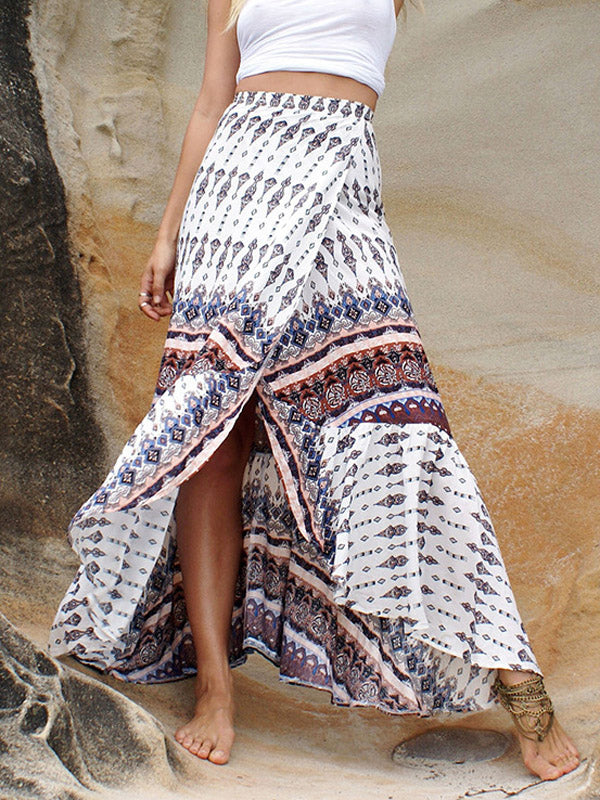 White Tribal Print Ruffle Trim Maxi Skirt