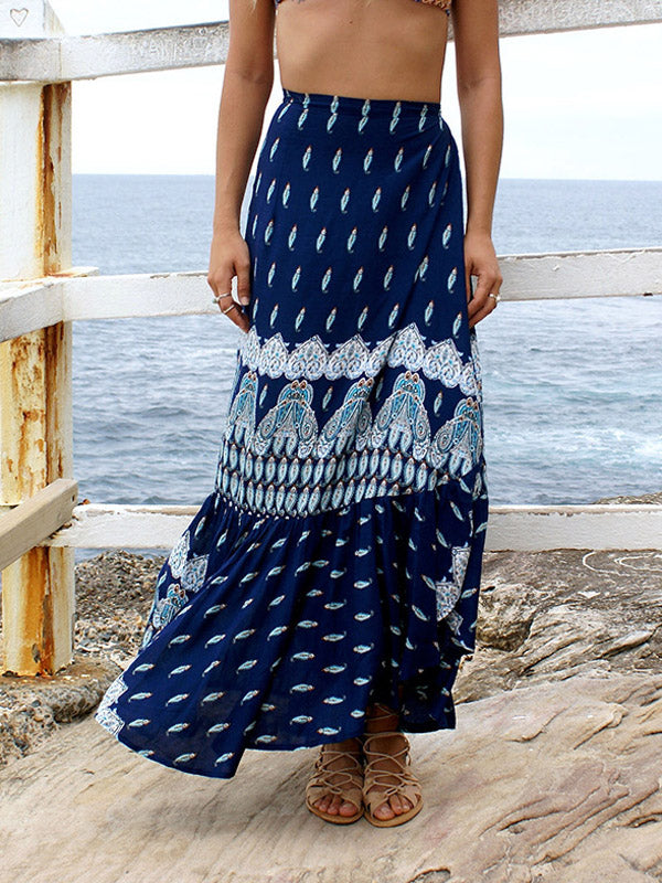 Navy Tribal Print Ruffle Trim Maxi Skirt