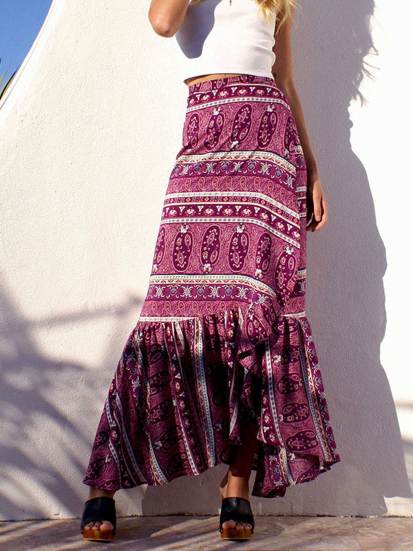 Hot Pink Tribal Print Ruffle Trim Maxi Skirt