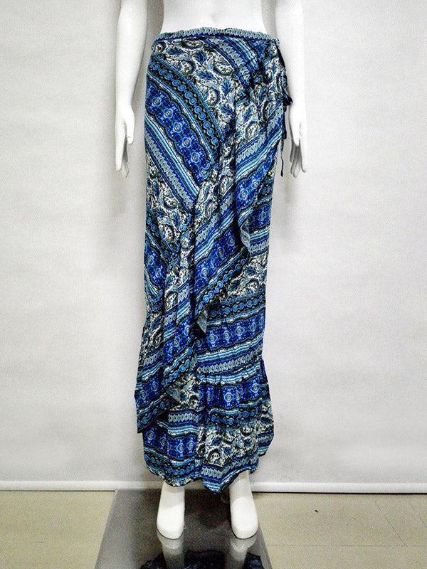 Blue Tribal Print Ruffle Trim Maxi Skirt