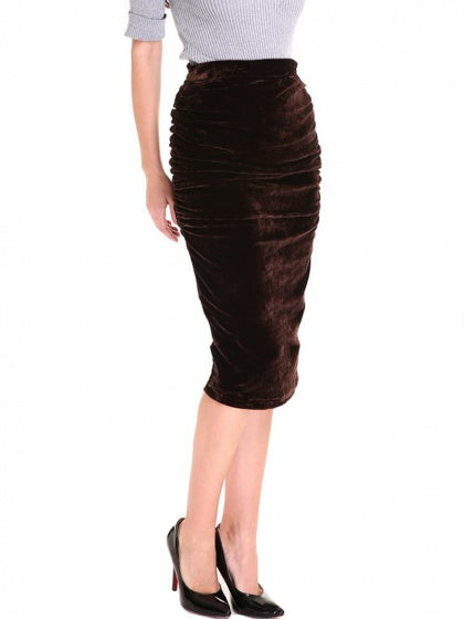 Brown Women Skirt Velvet High Waist Ruched Detail