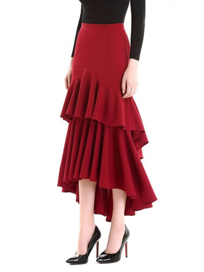 Burgundy Women Maxi Skirt High Waist Layered Ruffle Hem