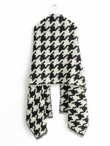 Black Scarf Houndstooth Print Faux Cashmere