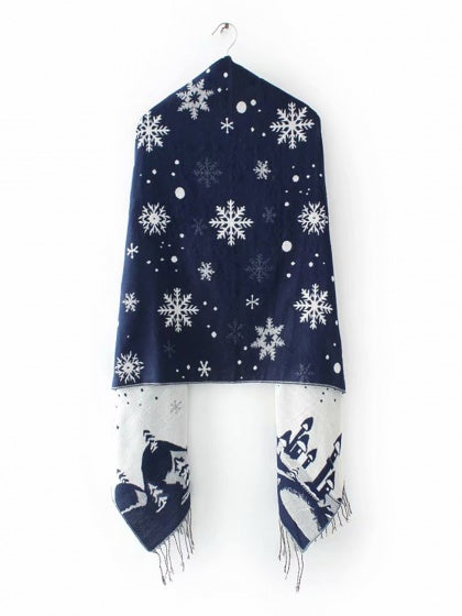 Blue Scarf Snow And Castle Print Tassel Trim Cotton Blend