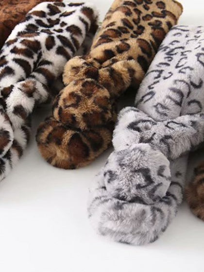 Brown Scarf Leopard Print Faux Rabbit Hair