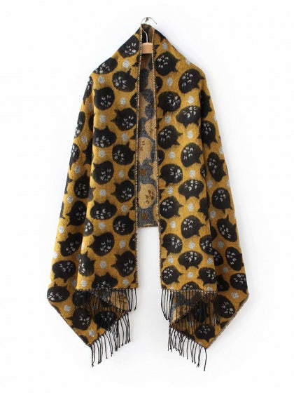 Yellow Scarf Cat Print Tassel Trim Faux Cashmere