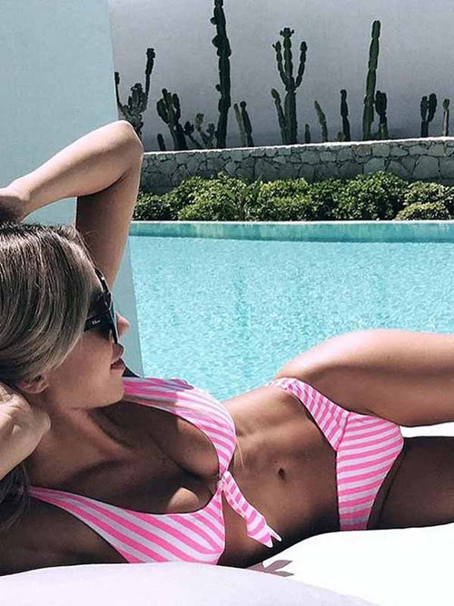 Pink Stripe Tie Front Bikini Top And Bottom